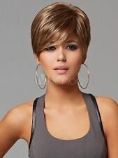 Mode Haute qualité Femmes d'or court droit sain Cosplay perruque de cheveux