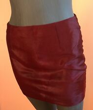 VERSACE ITALY Rich Burgundy Brown Super Mini Pony Fur Leather Skirt~ 4 /38 IT