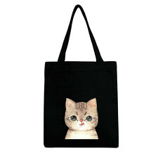 Embroidered Kitty CAT Flap Tote Bag Zip SHOPPER Shopping Canvas ...