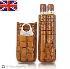 More details for luxury high quality embossed brown leather cigar case with cutter gift box