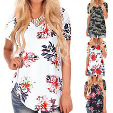 Women Short Sleeve Tunic Tops Floral Camouflage T Shirt Loose V Neck Blouse