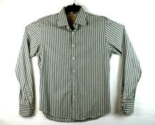 Scotch and Soda Mens Button Down Shirt Size XL Green Stripes Pearl Snap Cuff