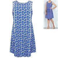 Label Be plus size 14 26 30 Dress Cotton Linen Blend Fit n Flare Blue Simply Be