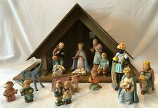 Hummel Goebel Nativity Scene - large wood manger – 16 pieces - West Germany
