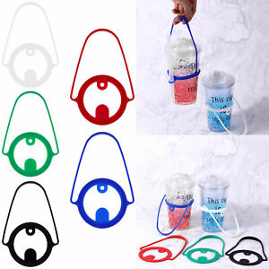 Silicone Cup Drink Straw Hole Carrier Reusable Takeout Coffee w/Handle Tie 18cm