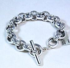 Authentic David Yurman Large Cable Link Chain Bracelet Silver Medium $950 NWT