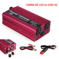 1500W Car LED Solar Power Inverter DC 12V to AC 110V Sine Wave Converter & USB