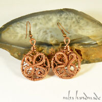 Antiqued Copper Beads Earrings Wire Wrapped Handcrafted Mba Handmade Jewelry