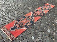 Turkish rug, Vintage rug, Handmade rug, Runner rug, Wool rug, Carpet 2x13ft.