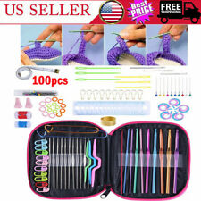 Aluminum Crochet Hooks Needles Knit 100 Pcs Set Multi Color Weave Craft Yarn