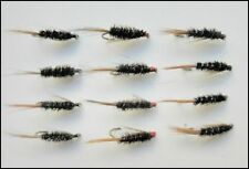 Diawl Bach Trout flies, 12 Pack Diawl Bach Nymph, Red, Pearl & Natural, 12/14