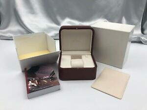 Genuine OMEGA Empty Watch Box Case Booklet Wooden Authentic Brown 210416003 A304
