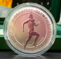 1996 Australia's Greatest Olympics, $10 Silver Frosted UNC Coin - BETTY CUTHBERT