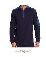 Bugatchi Navy Blue Men's Half Zip Cotton Sweater Shirt Size XL NEW