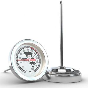 Thermometer Fleisch Edelstahl Backofen ,Grill , Herd , Analog Messung Höhe 11cm