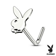 "Nose L Bend Ring w/Playboy Bunny 6mm Head 20 Gauge 1/4"" Steel Body Jewelry"