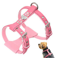 Pink Soft Padded Dog Harness Vest Bling Rhinestones for Small Medium Dogs S M L