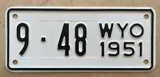 "MINT 1951 WYOMING MOTORCYCLE CYCLE   LICENSE PLATE  "" 9  48 ""  WY 51  LOW NUMBER"