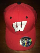 "Wisconsin Badgers Stretch Fit Hat (Baseball Cap) Medium/Large Red ""W"" front"