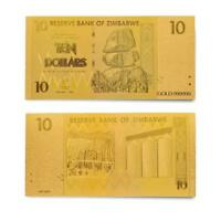 Zimbabwe Dollar Z$ 10 Bills Gold Plated Banknote Currency Money Note