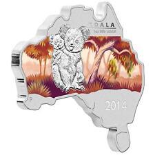 2014 $1 Australia Map Shaped Coin Series Koala 1oz Silver Coin
