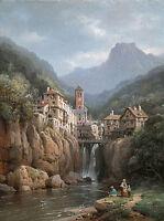 Landscape Oil painting Charles Euphrasie Kuwasseg - Vue de Kanderstein, Tyrol