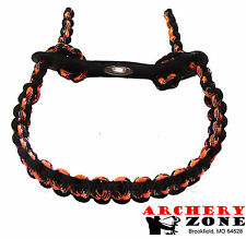 Orange Camo and BLACK Bow paracord wrist sling w/ Leather yoke Free Shipping