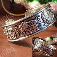 "Unique Tibetan Silver ""Lucky Auspicious Elephant"" Cuff Bracelet Bangle AAA569"