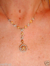 14k yellow gold silver and diamonds lariat necklace ret $712