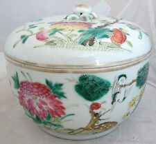 "Antique Chinese Famille Rose Lidded Container w/ Deer, Crane & Marks  (5.15"")"