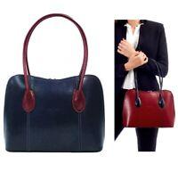 Handbag Ladies Navy / Burgundy Italian Leather Vera Pelle Tote Shoulder Bag