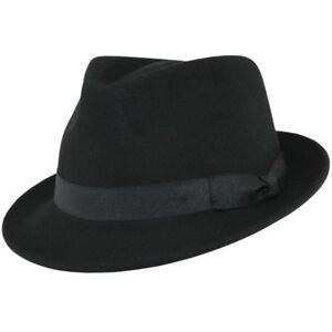 Mens Gangster Black Trilby Fedora Hat 100% Wool Felt -  S.M.L,XL (UK) VGT Style