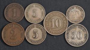 1874/1875/1876, Germany. Cu/Cu-Ni/Silver 1, 5 & 10, 20 & 50 Pfennig Coins. 7pcs!