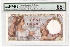 France 100 Francs Banknote 1942 Pick 94 PMG Superb Gem UNC 68 EPQ