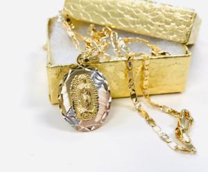 "14K Real Gold Filled Virgen De Guadalupe Necklace 20"", Cadena Y Medalla Set Oro"