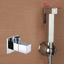 Square Muslim Shataff Bidet Douche Shower Toilet Spray Chromed Brass Kit Head