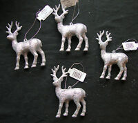 4 x Silver Glitter Deer Reindeer Hanging Decorations Christmas tree Baubles 12cm