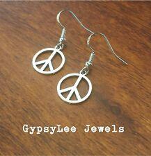 Peace Symbol ♡ Sterling Silver925 Hook Earrings Hippie Gypsy Boho Circle