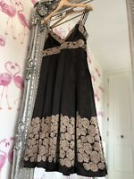 Ted Baker Gold Bronze Empire floral cute Pleated 100% Silk Dress (2) 10 Wedding