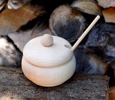 Zuckerdose mit Deckel + Löffel Vorratsdose Salzdose Gewürz Dose Holz Behälter