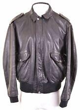 SCHOTT Mens Leather Jacket Size 50 Large Black Vintage JJ08