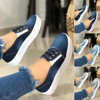 Women Ladies Canvas Loafers Casual Flat Sneakers Slip On Sports Running Shoes