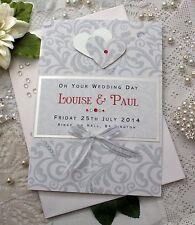 "Large Handmade Personalised Congratulations Wedding Card ""Silver Damask"""