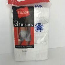 NEW Hanes Mens Boxers White 2007 3-Pk Lg 38-40 No Gap Fly Style 436B Comfort Fle