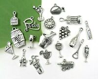 20 COCKTAIL Charms, Antique Silver Mixed Collection Set Lot Wine Beer Party