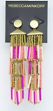 Rebecca Minkoff Beaded Tassel Fringe Drop Earrings Peony Tags