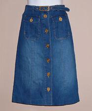 New-Reiss Blue Stretch Denim Skirt-Button Front-Gold Buckle Belt-Knee Length-4UK