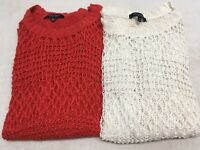 CHRISTIAN SIRIANO PULLOVER OPEN KNIT SWEATER RUNWAY STYLE SIZE M Orange White
