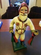"""Very Rare Midwest Imports Leo R Smith 13.75"""" Craved Wood Santa Claus Signed Vtg"""
