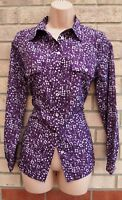 PAPAYA PURPLE WHITE FLORAL ALL BUTTONED LONG SLEEVE T SHIRT BLOUSE TOP 8 S